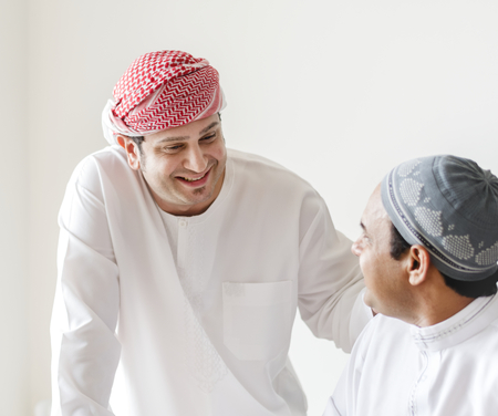 Muslim friends greeting each other Stock Photo - 102861199
