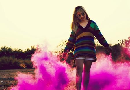 Asian girl dancing pink cloud Stock Photo