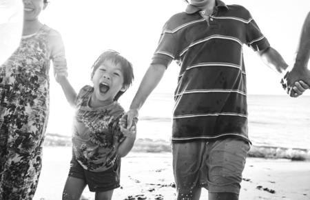 Asian family on vacation Stock Photo