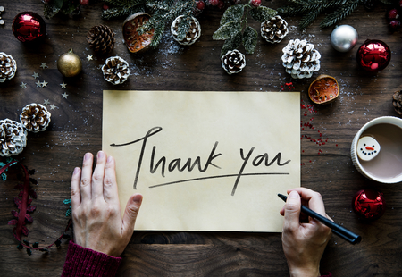 Christmas themed Thank You card Stock Photo