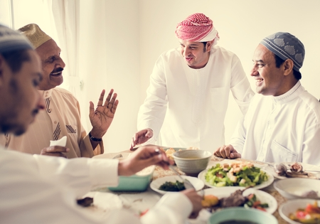 Muslim family having a Ramadan feast