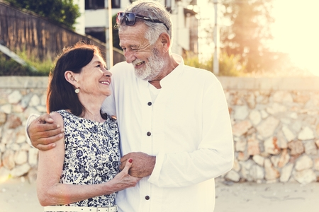 Mature couple vacationing at a resort Stock fotó
