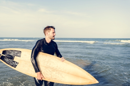 Surfer at a nice beach