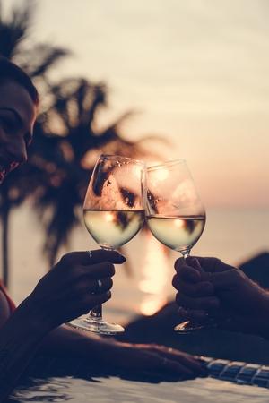 Couple enjoying a romantic sunset