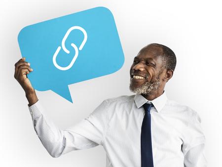 Happy man holding link symbol