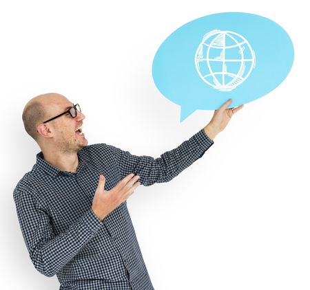 Happy man holding WWW symbol Stock Photo