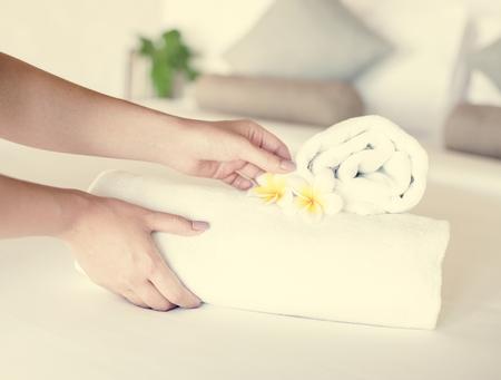 Towel preparation for a spa treatment Imagens