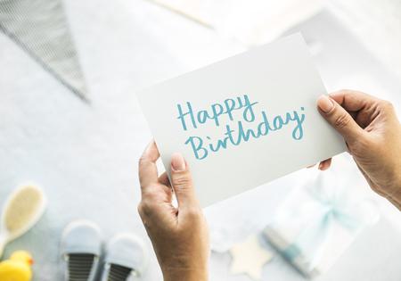 Baby shower themed birthday card Stock Photo