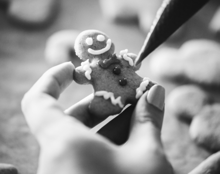 Gingerbread man in the making Stock Photo