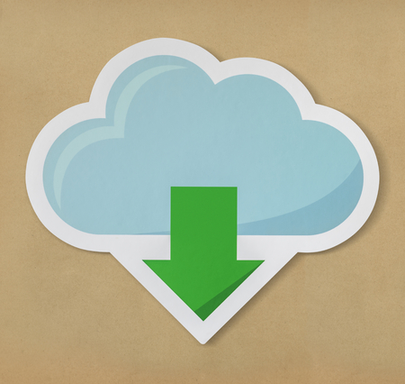 Cloud downloading icon technology graphic Stock Photo