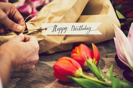 Closeup of a birthday flower bouquet