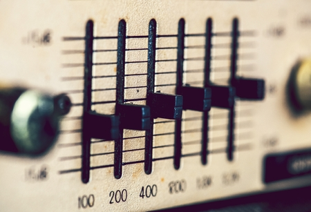 Closeup of a music equalizer Stock Photo