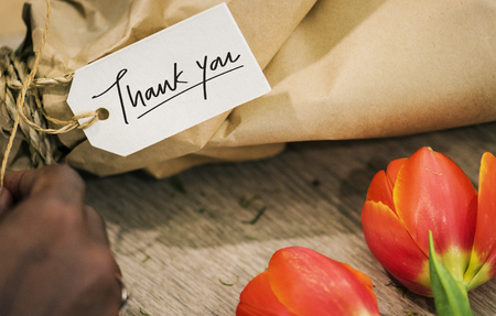 Closeup of thank you tag on a flower bouquet