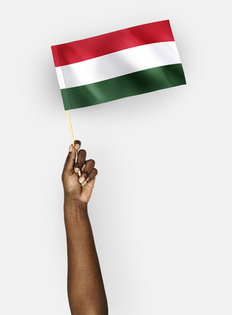 Person waving the flag of Hungary 写真素材 - 102864972