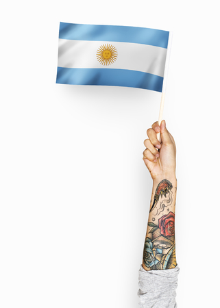 Person waving the flag of Argentine Republic