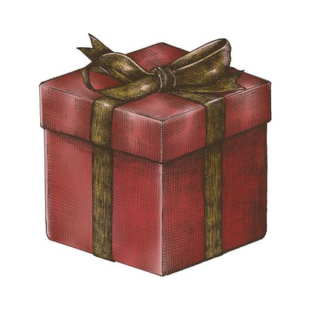 Hand-drawn red gift box illustration