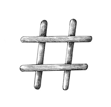 Hand drawn hashtag illustration Stok Fotoğraf