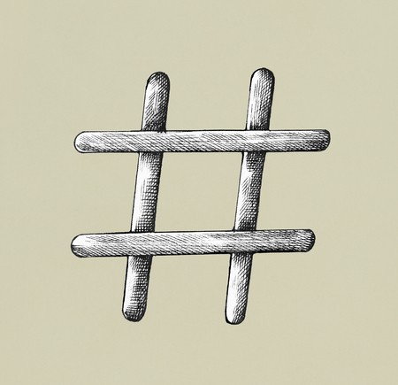 Hand drawn hashtag illustration Stock Photo