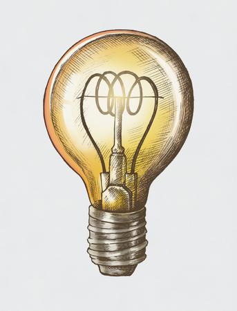 Hand-drawn bright light bulb illustration Stok Fotoğraf