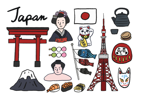 Collection of iconic symbols of Japan