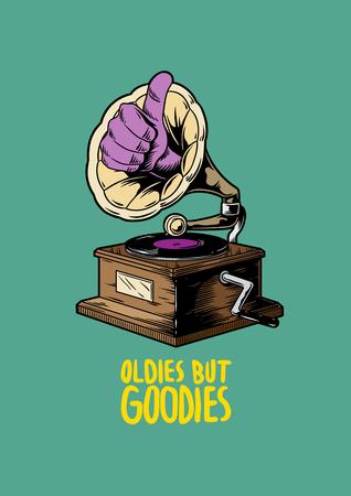 Oldies but goodies music creative illustration Stock Photo