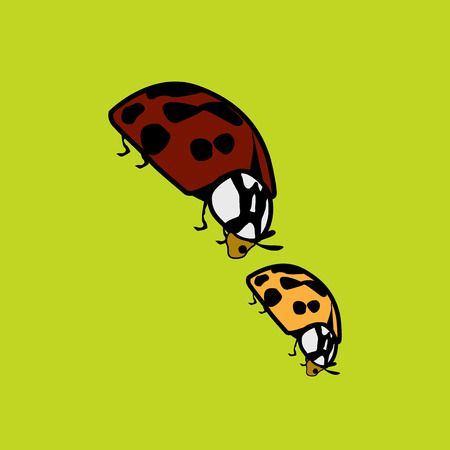 Two ladybugs funky graphic illustration
