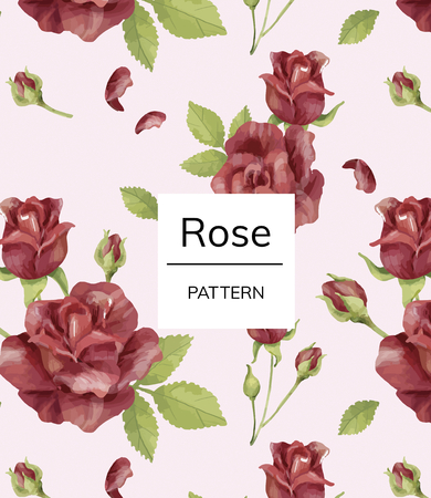 Hand drawn rose flower pattern
