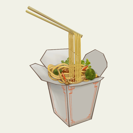 Chow mein in takeawy box illustration Stock Photo