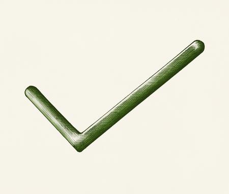 Hand-drawn green right tick illustration Stock Photo