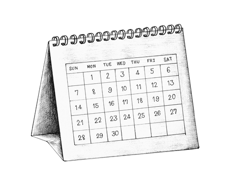 Hand-drawn desk calendar illustration