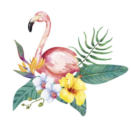 Hand drawn flamingo bird with tropical flowers Stok Fotoğraf - 103959239