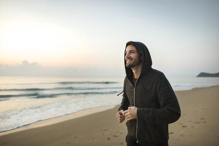 Man jogging at the beach