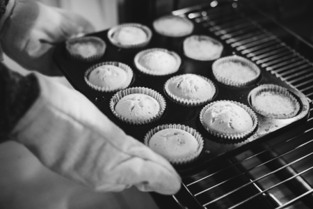 Freshly baked cupcakes out of the oven