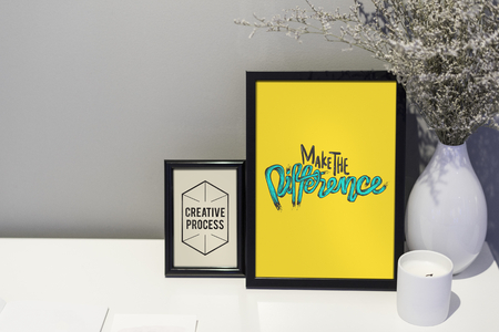 Creative quote and illustration in picture frames Stock Photo