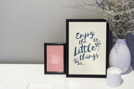 Lifestyle quote and illustration in picture frames