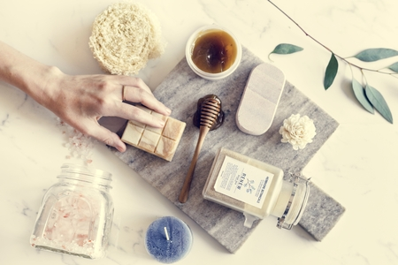 Flat lay of spa treatment set