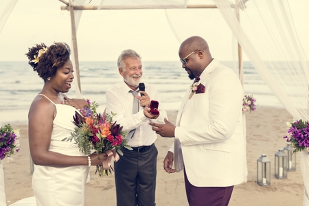 African American couple's wedding day Stock Photo