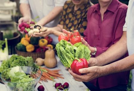 Closeup of senior people hands holding fresh organic vegeable