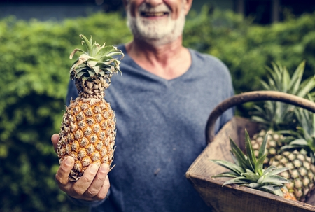 Man holding pineapple in the basket Stockfoto