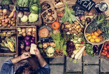 Variation of fresh organic vegetable on wooden table