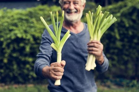 Elderly man  holding fresh leek Stok Fotoğraf