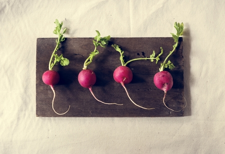 Closeup of fresh radish on wooden background