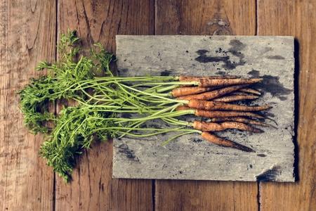 Closeup of yellow fresh organic carrots