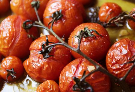 Roasted cherry tomotoes food photography recipe idea