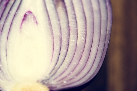 Closeup of fresh cut red onion