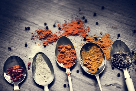 Closeup of asian spice powders cooking ingredients
