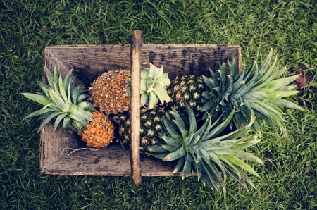 Aerial view of pineapples in wooden basket