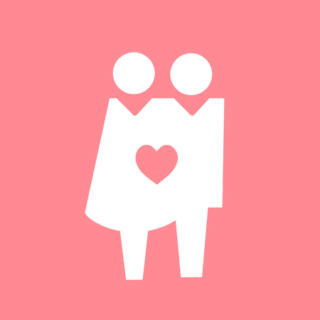 Loved up couple icon pictogram illustration