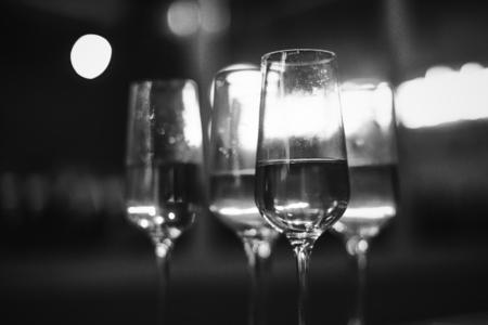 Closeup of party champange drinks