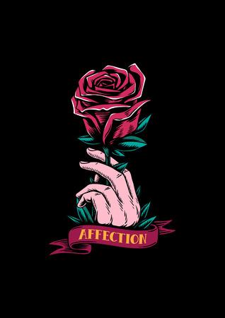 Rote Rose und Zuneigung kreative Darstellung Standard-Bild - 104033285
